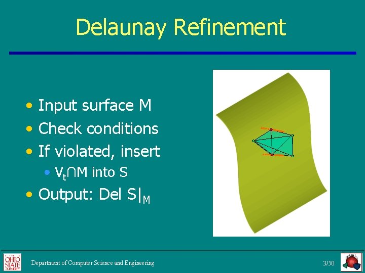 Delaunay Refinement • Input surface M • Check conditions • If violated, insert •
