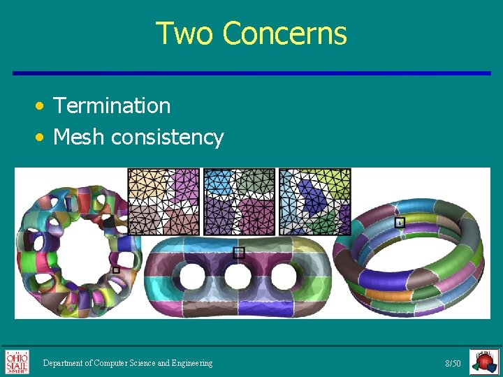 Two Concerns • Termination • Mesh consistency Department of Computer Science and Engineering 8/50