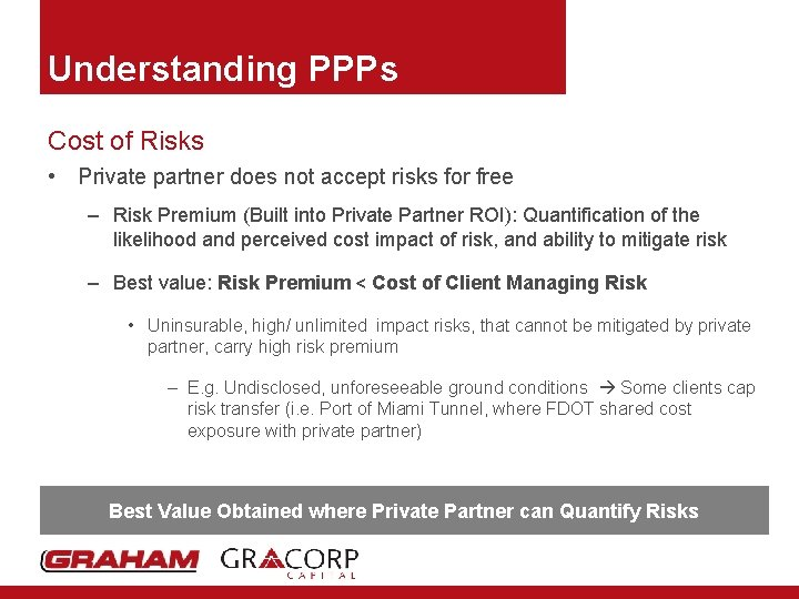 Understanding PPPs Cost of Risks • Private partner does not accept risks for free