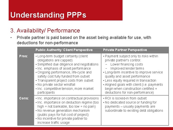 Understanding PPPs 3. Availability/ Performance • Private partner is paid based on the asset