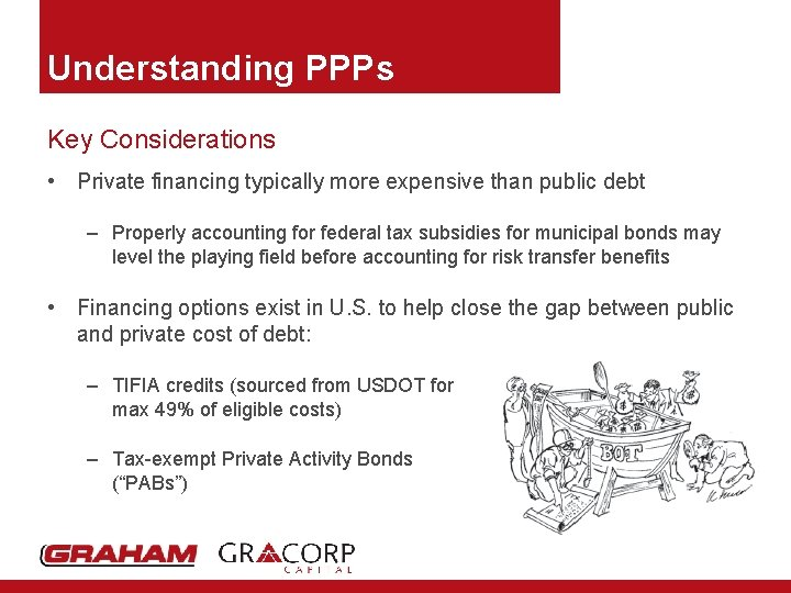 Understanding PPPs Key Considerations • Private financing typically more expensive than public debt –