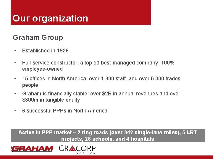 Our organization Graham Group • Established in 1926 • Full-service constructor; a top 50