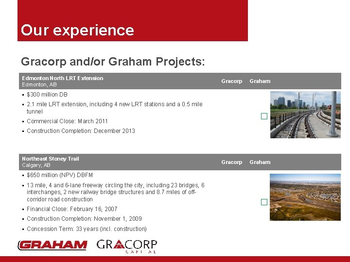Our experience Gracorp and/or Graham Projects: Edmonton North LRT Extension Edmonton, AB Gracorp Graham