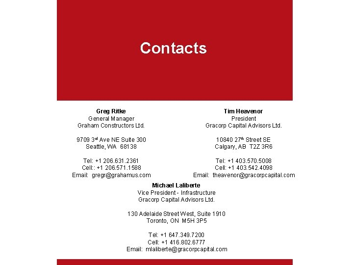 Contacts Greg Ritke General Manager Graham Constructors Ltd. Tim Heavenor President Gracorp Capital Advisors