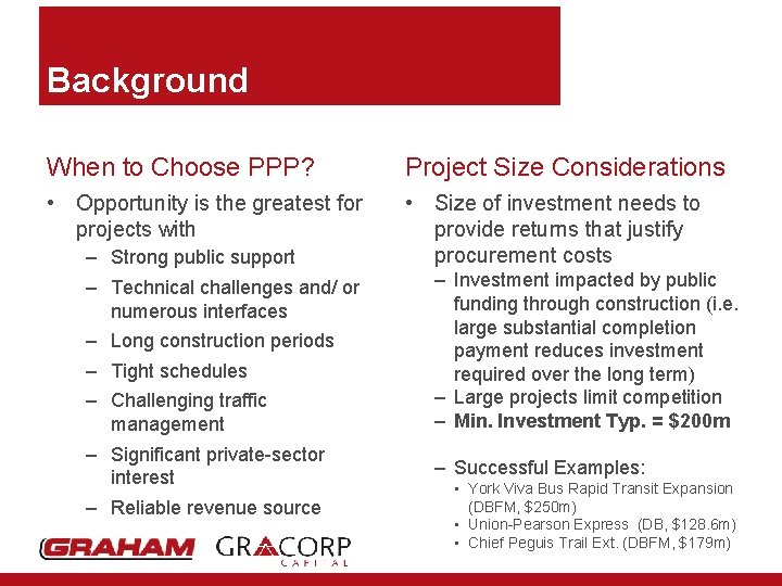 Background When to Choose PPP? Project Size Considerations • Opportunity is the greatest for