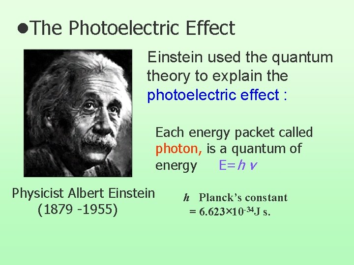 l. The Photoelectric Effect Einstein used the quantum theory to explain the photoelectric effect