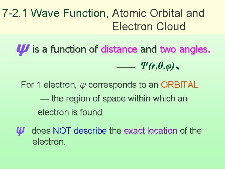 7 -2. 1 Wave Function, Atomic Orbital and Electron Cloud ψ is a function