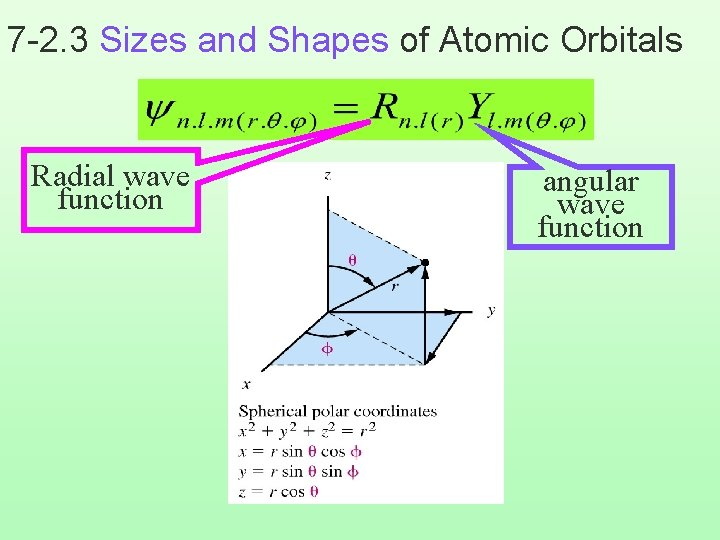 7 -2. 3 Sizes and Shapes of Atomic Orbitals Radial wave function angular wave