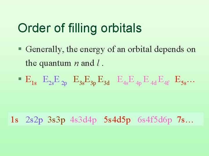 Order of filling orbitals § Generally, the energy of an orbital depends on the