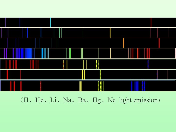 (H、He、Li、Na、Ba、Hg、Ne light emission)