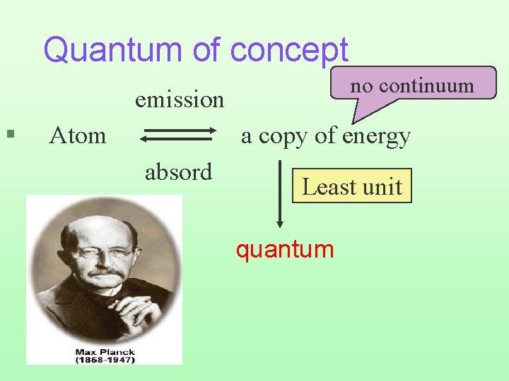 Quantum of concept no continuum emission § Atom a copy of energy absord Least