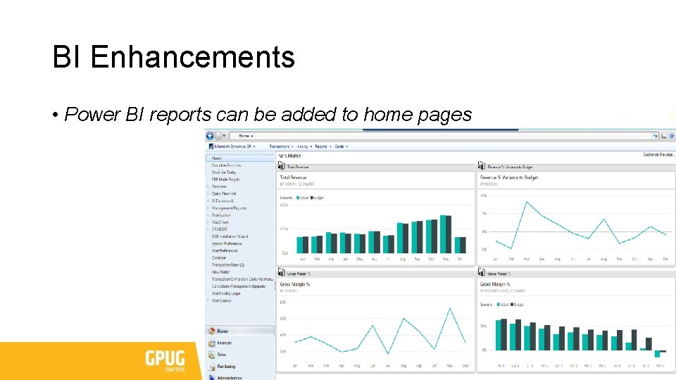 BI Enhancements • Power BI reports can be added to home pages