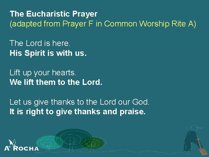 The Eucharistic Prayer (adapted from Prayer F in Common Worship Rite A) The Lord