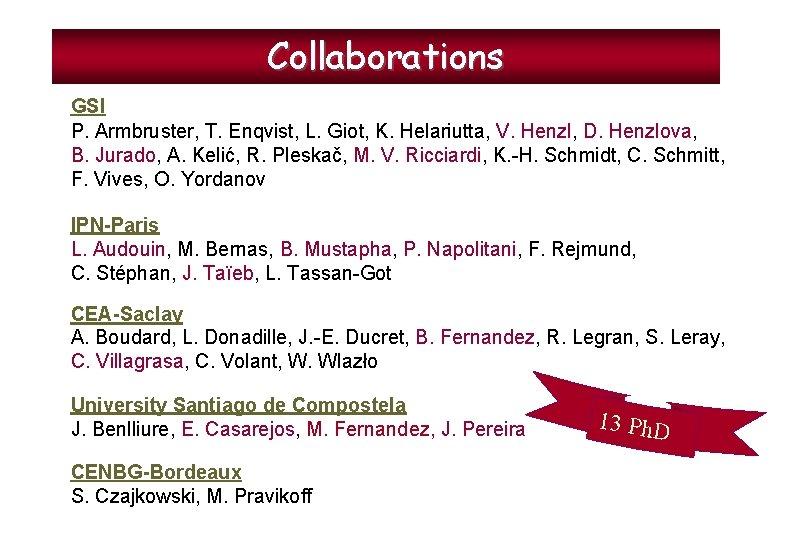 Collaborations GSI P. Armbruster, T. Enqvist, L. Giot, K. Helariutta, V. Henzl, D. Henzlova,