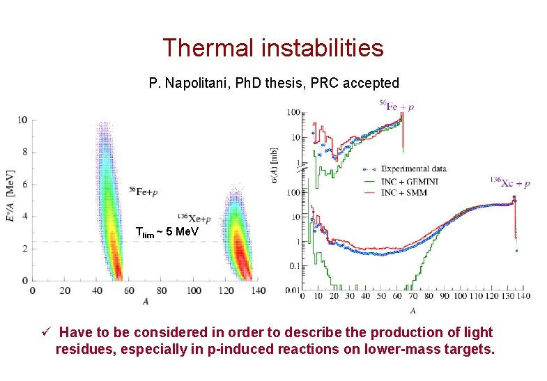 Thermal instabilities P. Napolitani, Ph. D thesis, PRC accepted Tlim ~ 5 Me. V