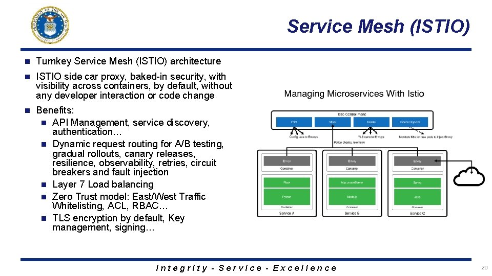 Service Mesh (ISTIO) n Turnkey Service Mesh (ISTIO) architecture n ISTIO side car proxy,
