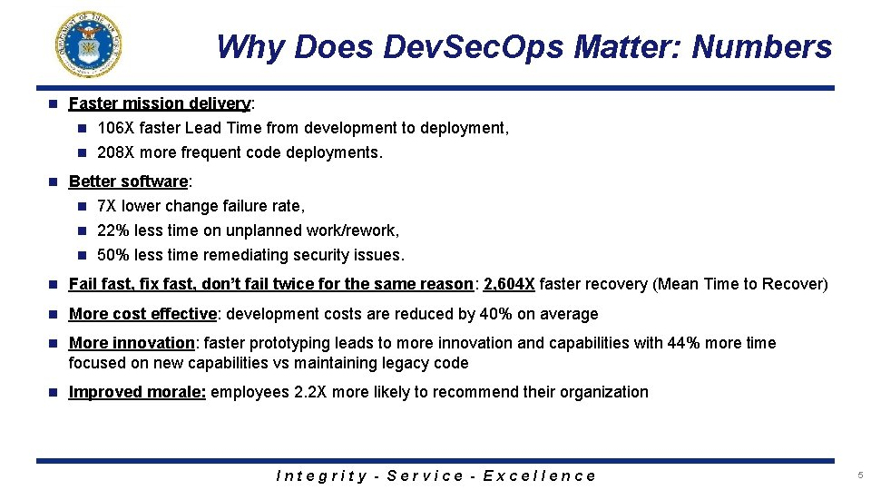 Why Does Dev. Sec. Ops Matter: Numbers n Faster mission delivery: 106 X faster