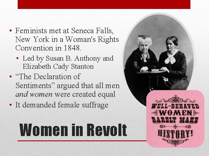 • Feminists met at Seneca Falls, New York in a Woman's Rights Convention