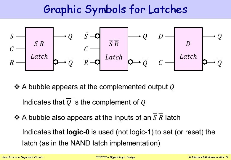 Graphic Symbols for Latches v Introduction to Sequential Circuits COE 202 – Digital Logic