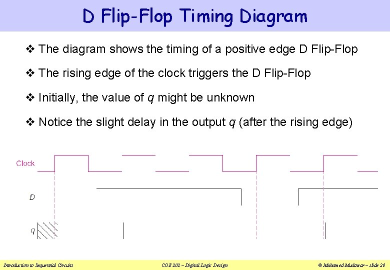 D Flip-Flop Timing Diagram v The diagram shows the timing of a positive edge