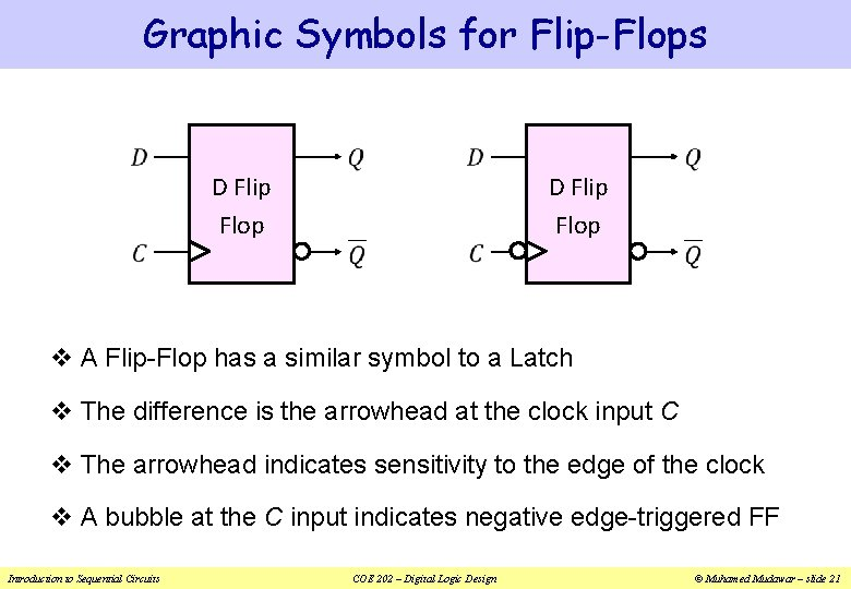 Graphic Symbols for Flip-Flops D Flip Flop v A Flip-Flop has a similar symbol