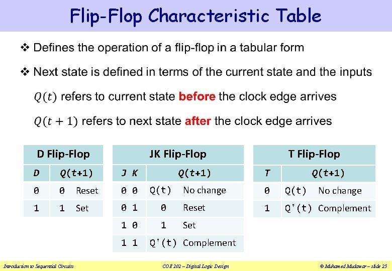 Flip-Flop Characteristic Table v JK Flip-Flop D Flip-Flop J K Q(t+1) D Q(t+1) 0