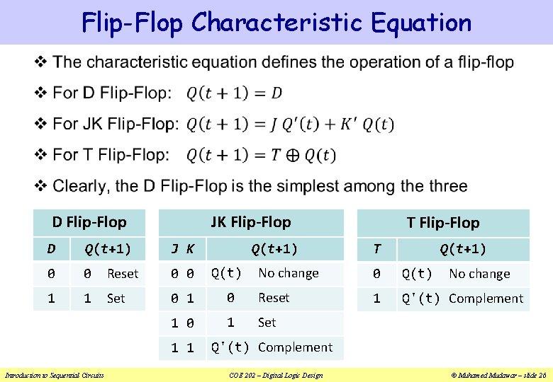 Flip-Flop Characteristic Equation v JK Flip-Flop D Flip-Flop J K Q(t+1) D Q(t+1) 0