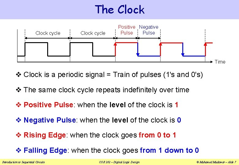 The Clock cycle Positive Negative Pulse Time v Clock is a periodic signal =