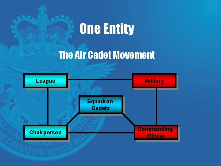 One Entity The Air Cadet Movement League Military Squadron Cadets Chairperson Commanding Officer