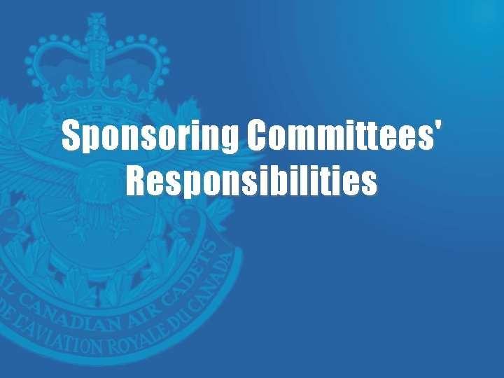 Sponsoring Committees' Responsibilities