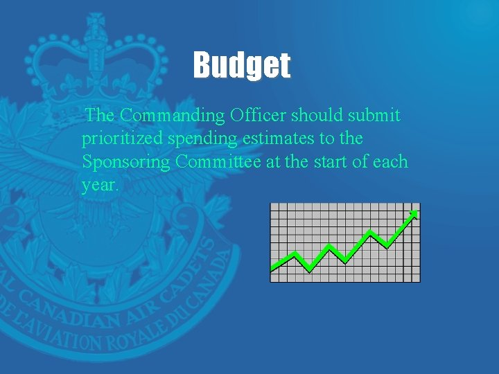 Budget The Commanding Officer should submit prioritized spending estimates to the Sponsoring Committee at