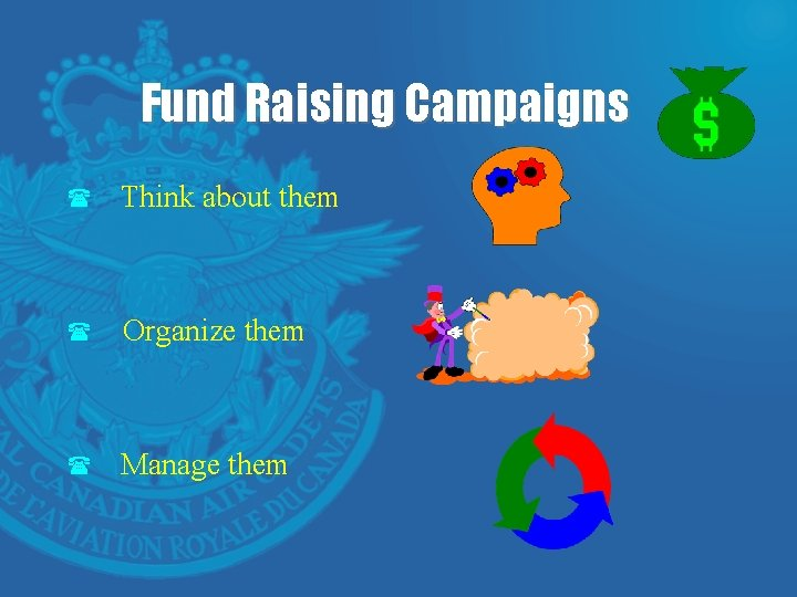 Fund Raising Campaigns ( Think about them ( Organize them ( Manage them