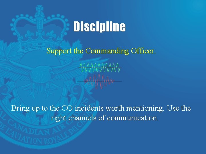Discipline Support the Commanding Officer. Bring up to the CO incidents worth mentioning. Use