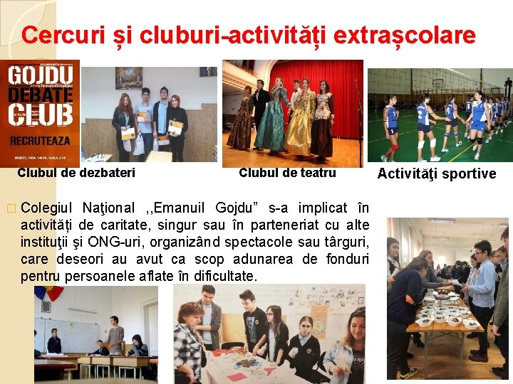 Cercuri și cluburi-activități extrașcolare Clubul de dezbateri Clubul de teatru � Colegiul Naţional ,