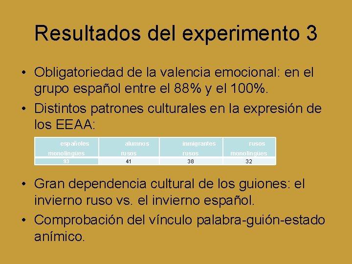 Resultados del experimento 3 • Obligatoriedad de la valencia emocional: en el grupo español