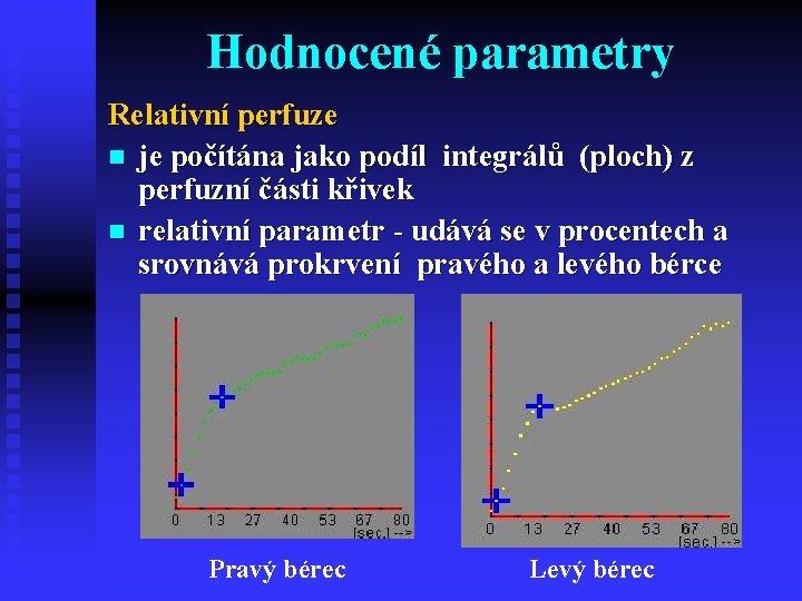 Hodnocené parametry Relativní perfuze n je počítána jako podíl integrálů (ploch) z perfuzní části