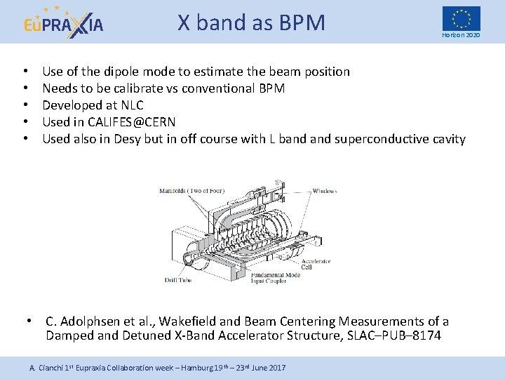 X band as BPM • • • Horizon 2020 Use of the dipole mode