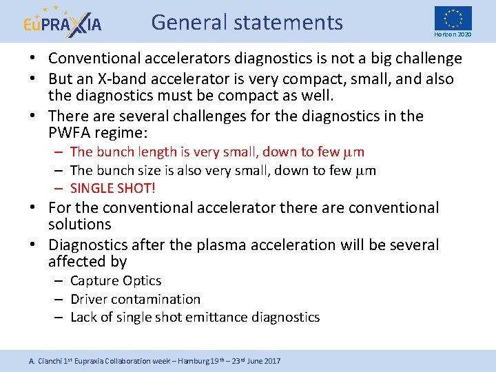 General statements Horizon 2020 • Conventional accelerators diagnostics is not a big challenge •