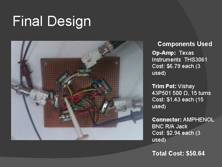 Final Design Components Used Op-Amp: Texas Instruments THS 3061 Cost: $6. 79 each (3