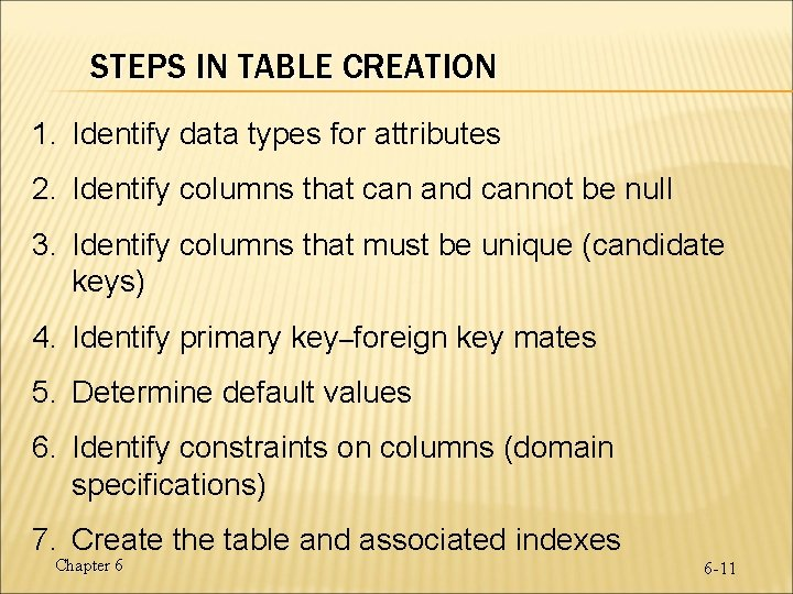 STEPS IN TABLE CREATION 1. Identify data types for attributes 2. Identify columns that