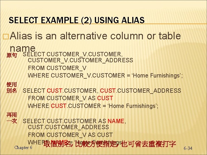 SELECT EXAMPLE (2) USING ALIAS � Alias is an alternative column or table name