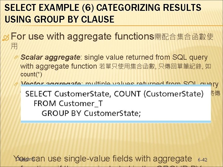 SELECT EXAMPLE (6) CATEGORIZING RESULTS USING GROUP BY CLAUSE For 用 use with aggregate