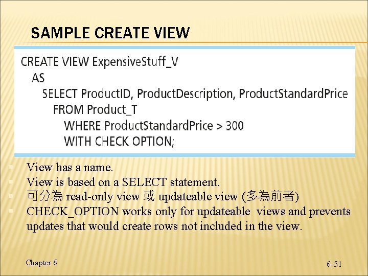 SAMPLE CREATE VIEW § § View has a name. View is based on a