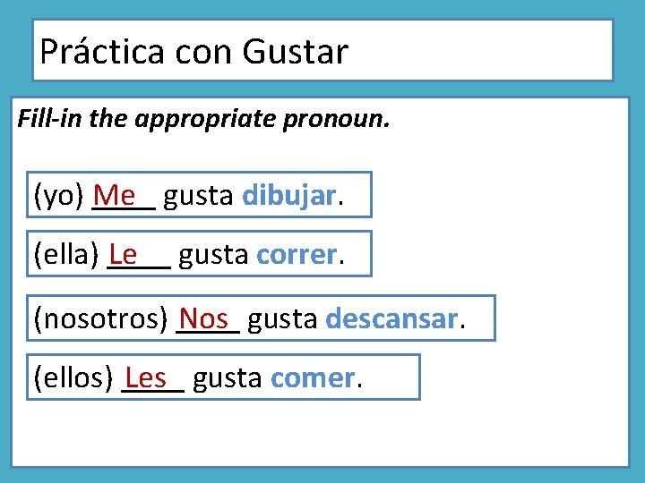 Práctica con Gustar Fill-in the appropriate pronoun. (yo) ____ Me gusta dibujar. (ella) ____