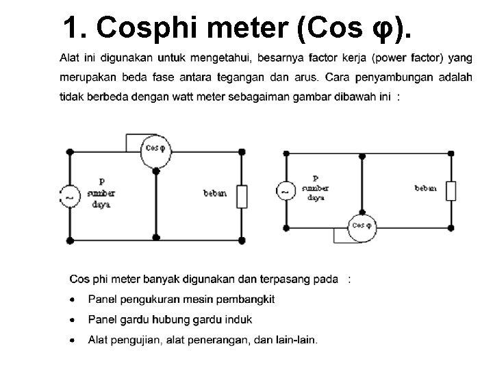 1. Cosphi meter (Cos φ).