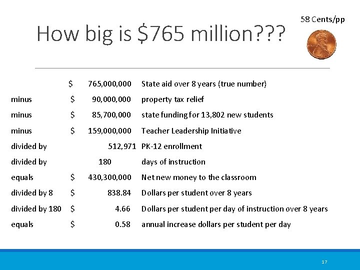 How big is $765 million? ? ? $ 765, 000 State aid over 8