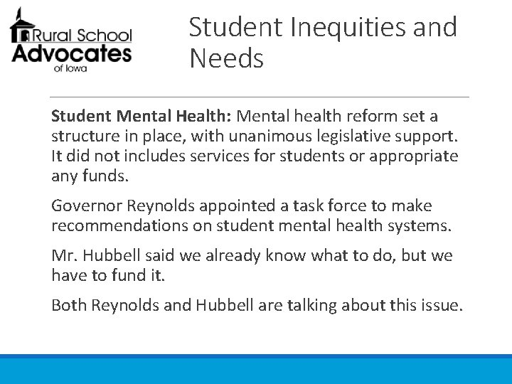 Student Inequities and Needs Student Mental Health: Mental health reform set a structure in