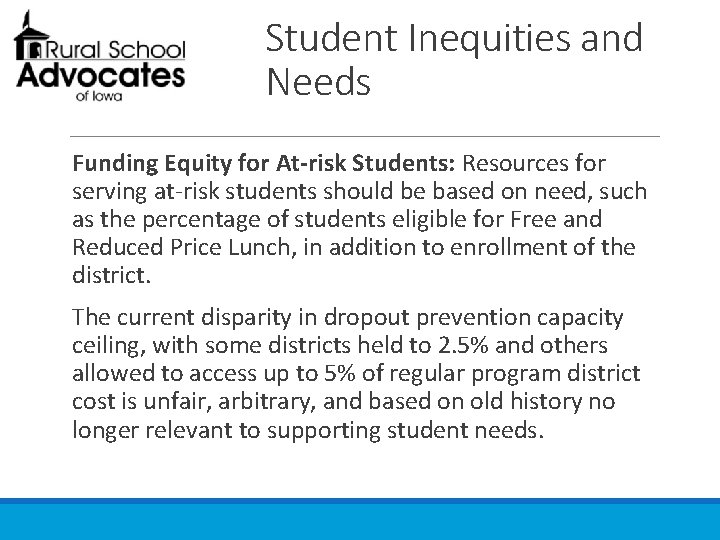 Student Inequities and Needs Funding Equity for At-risk Students: Resources for serving at-risk students