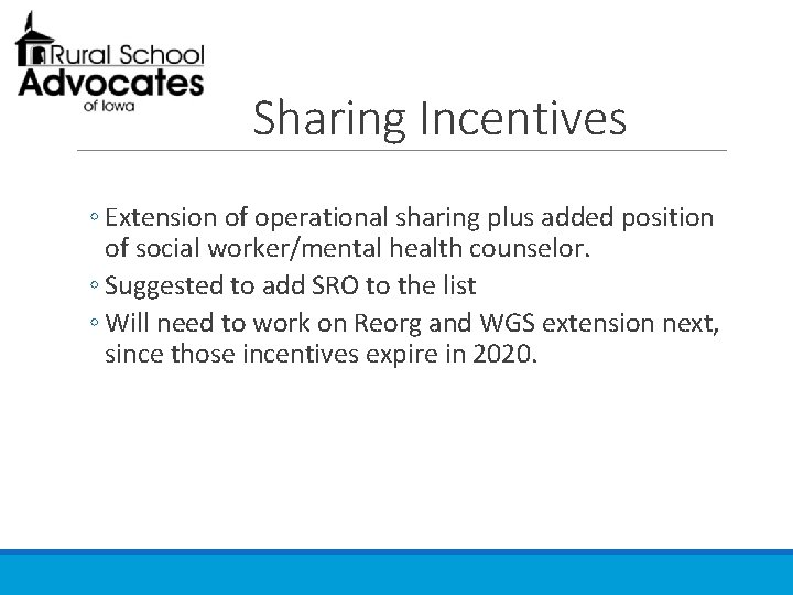 Sharing Incentives ◦ Extension of operational sharing plus added position of social worker/mental health