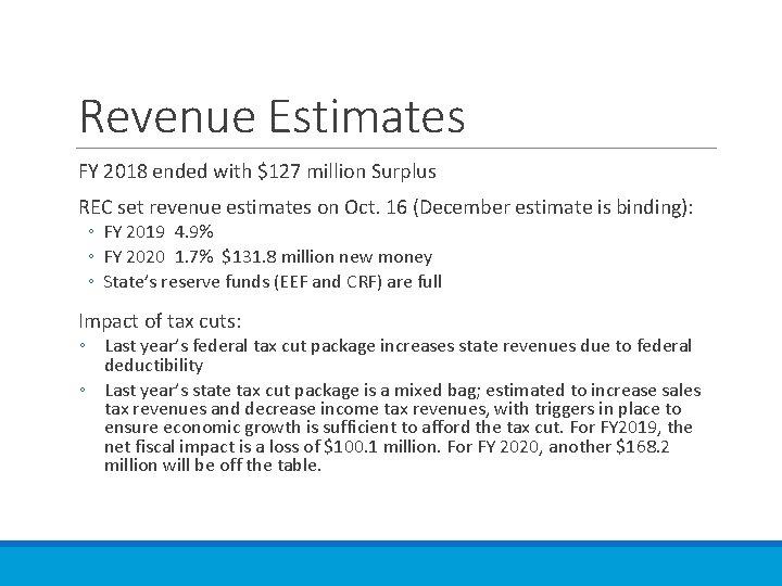 Revenue Estimates FY 2018 ended with $127 million Surplus REC set revenue estimates on